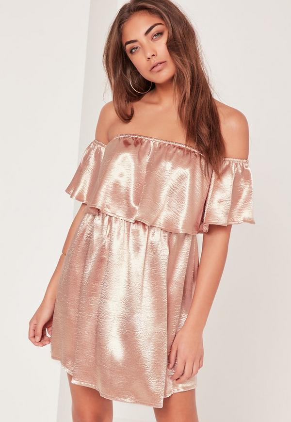Silky Bardot Shift Dress Pink