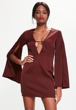 Satin Bell Split Sleeve Plunge Shift Dress Burgundy