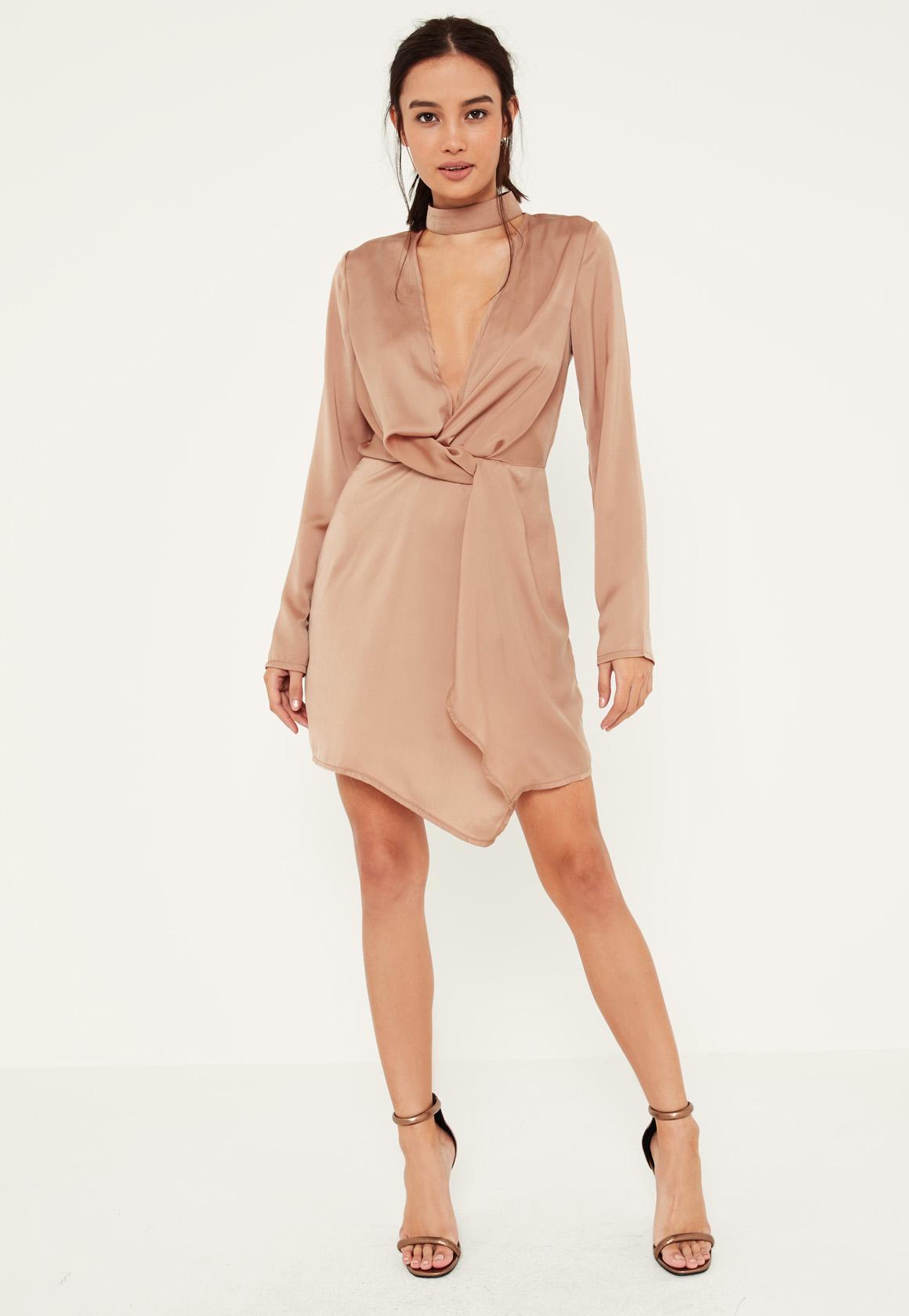 Nude Satin Wrap Choker Shift Dress