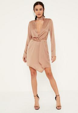 Nude Satin Wrap Choker Shift Dress