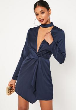Navy Blue Satin Wrap Choker Shift Dress
