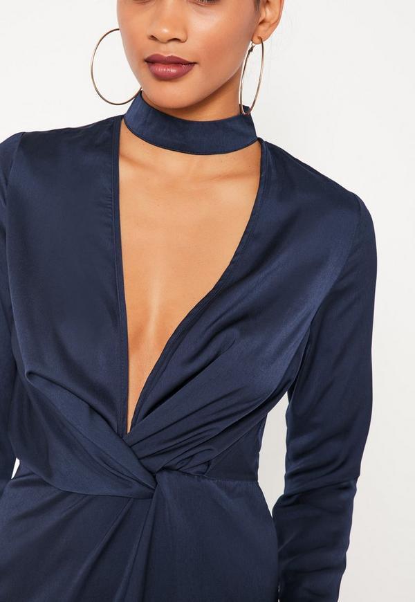 Navy Blue Satin Wrap Choker Shift Dress | Missguided