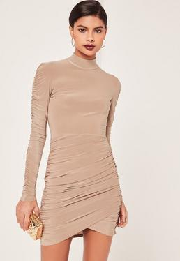 Nude Slinky High Neck Ruched Bodycon Dress