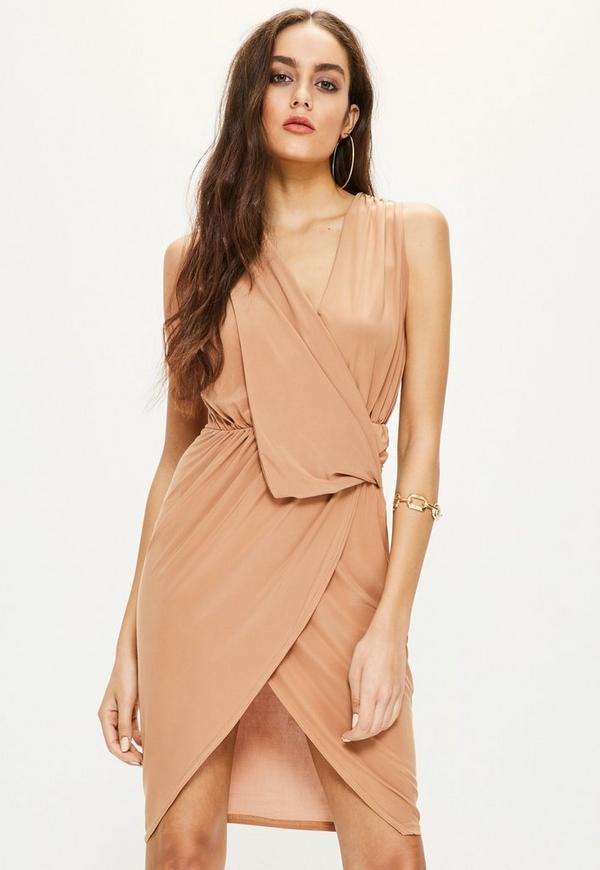 Camel Slinky Drape Front Midi Dress