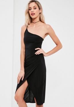 Black Slinky One Shoulder Midi Dress