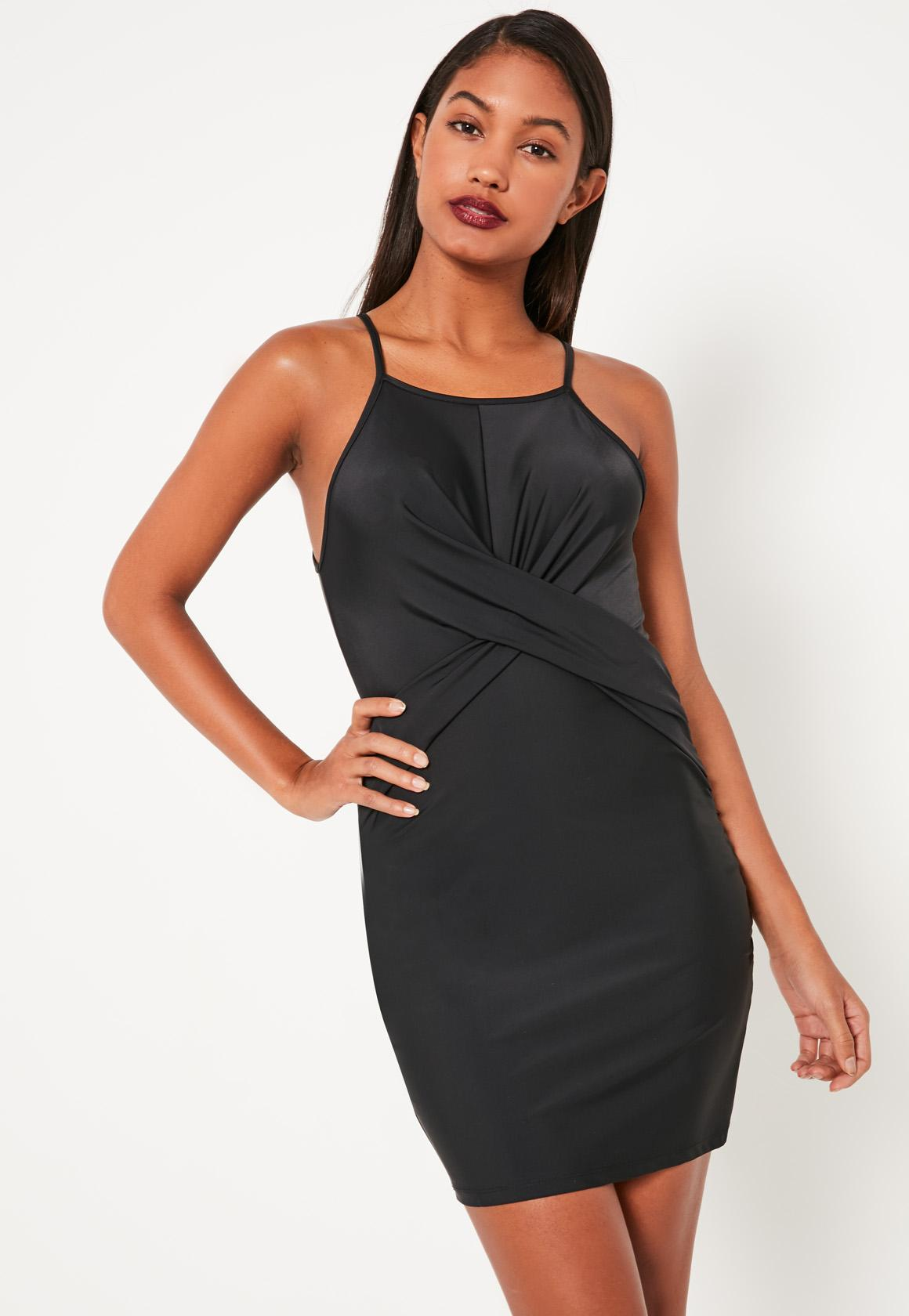 Black Slinky Twist Front Bodycon Dress