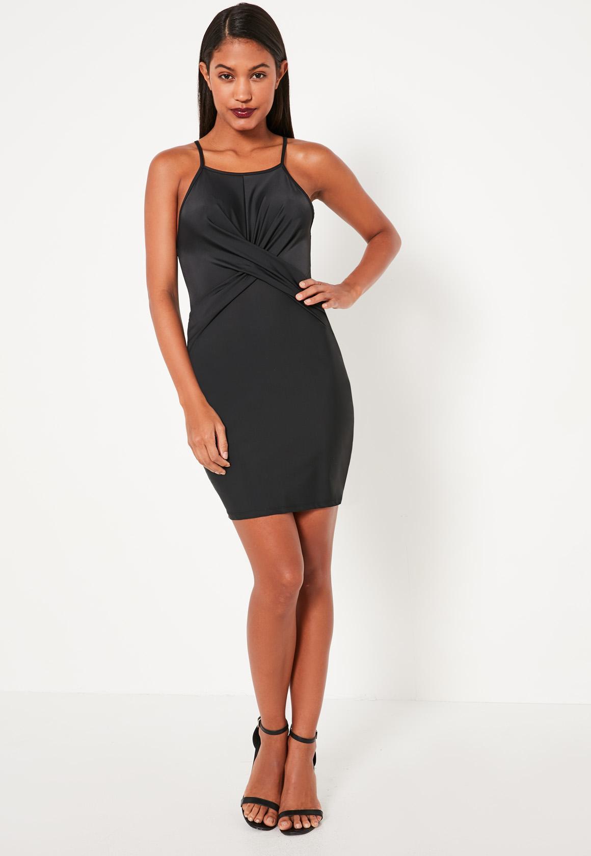 Black Slinky Twist Front Bodycon Dress