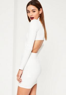 White Scuba High Neck Cut Out Back Detail Bodycon Dress