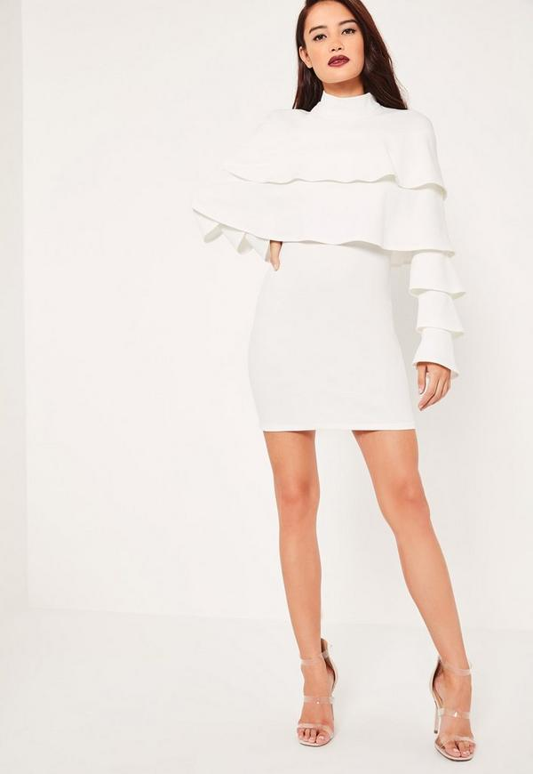 White Crepe Layered Frill Bodycon Dress