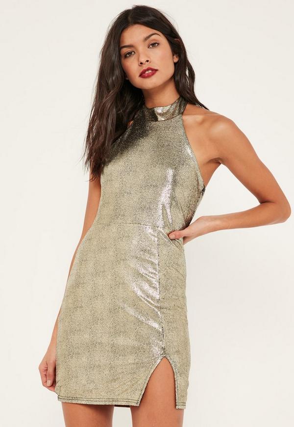 Gold Foiled Metallic High Neck Mini Dress