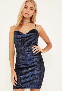 Blue Metallic Velvet Cowl Front Bodycon Dress