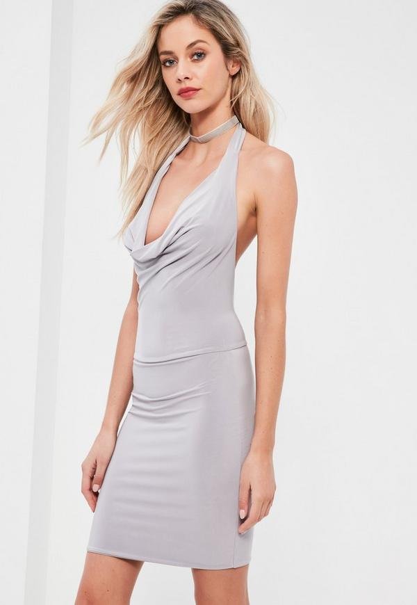Grey Slinky Cowl Front Midi Dress
