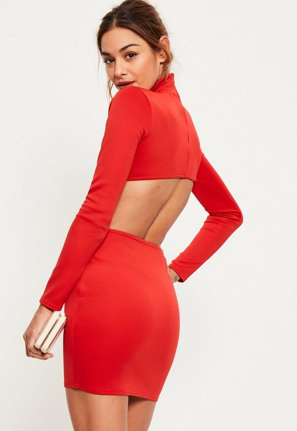 Red Scuba High Neck Cut Out Back Detail Bodycon Dress