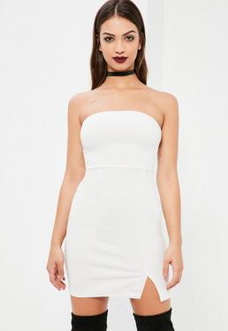 White Bandeau Bodycon Dress With Side Split