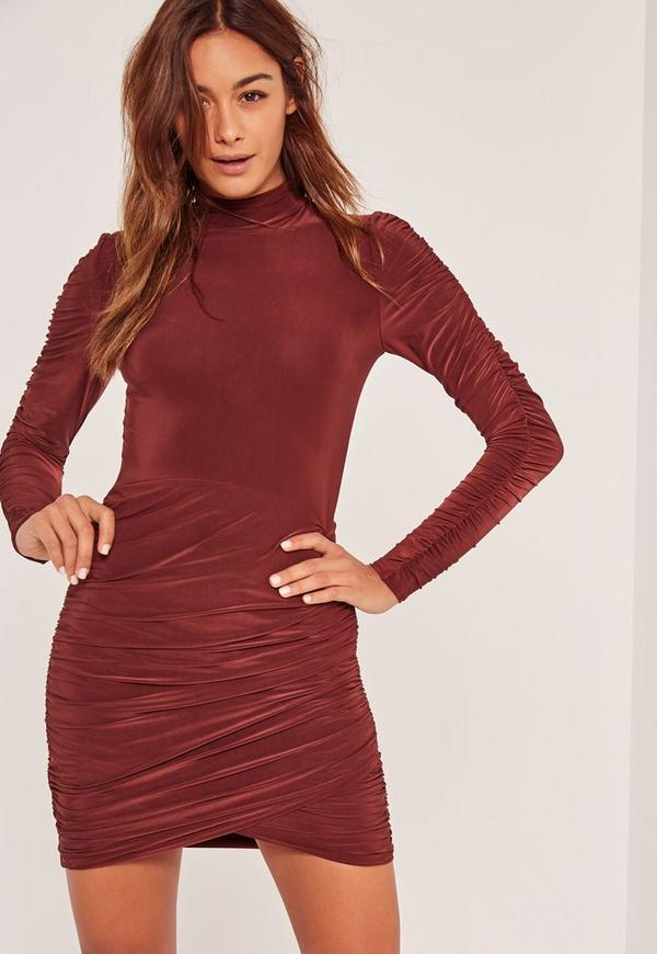Slinky High Neck Ruched Bodycon Dress Brown