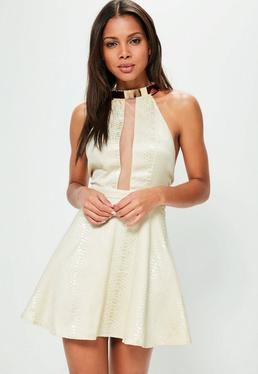 Nude Snake Jaquard Skater Dress