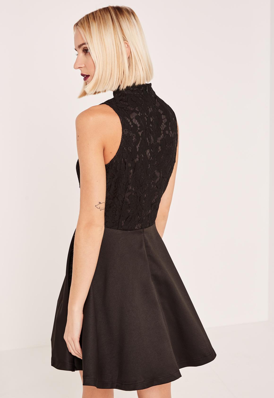 Black Lace Keyhole Skater Dress