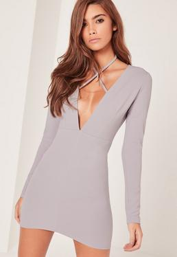 Grey Tie Neck Plunge Long Sleeve Bodycon Dress