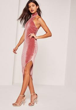 Pink Velvet High Neck Side Split Midi Dress
