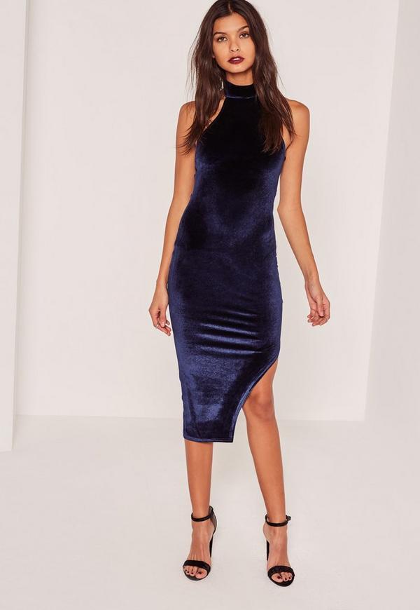 Navy Velvet High Neck Side Split Midi Dress