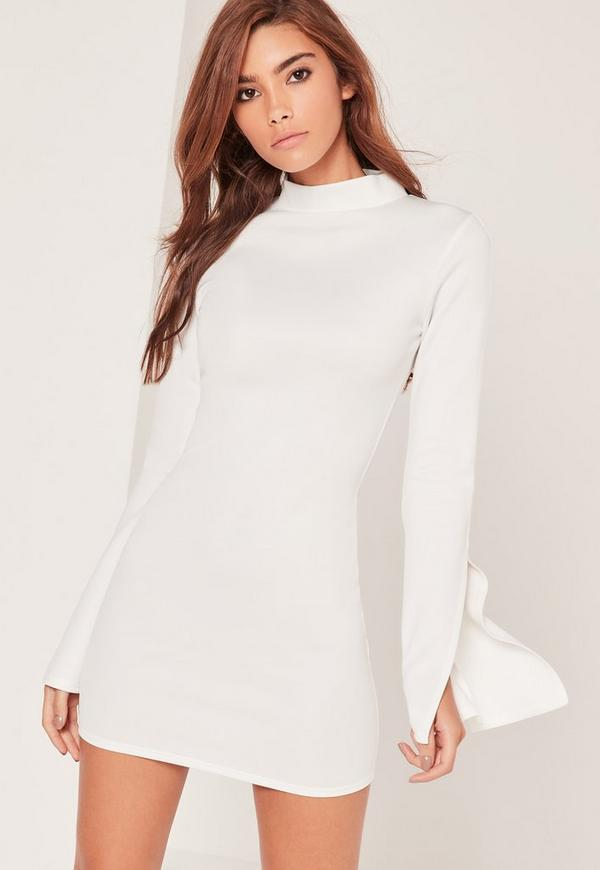 Scuba High Neck Split Sleeve Bodycon Dress White