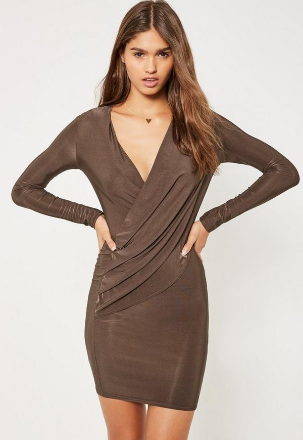 Brown Silky Wrap Bodycon Dress
