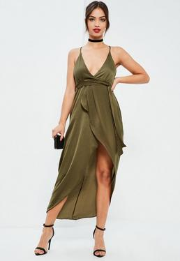 Khaki Silky Plunge Asymmetric Wrap Midi Dress