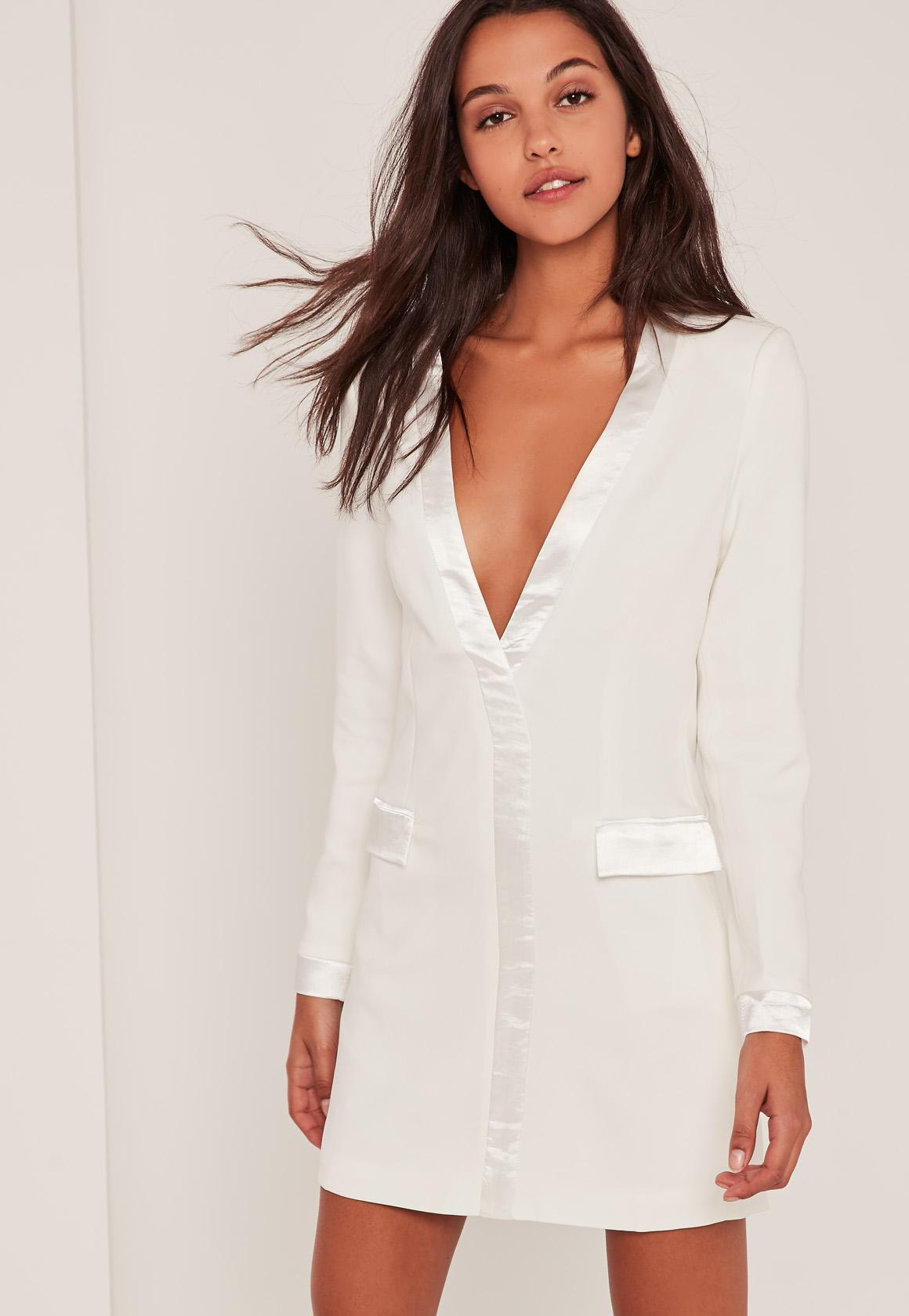 White Satin Contrast Blazer Dress | Missguided