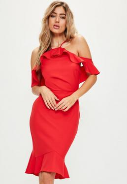 Red Frill Midi Dress
