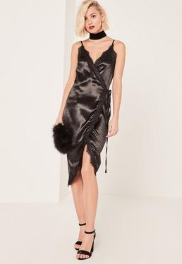 Black Lace Wrap Satin Cami Dress