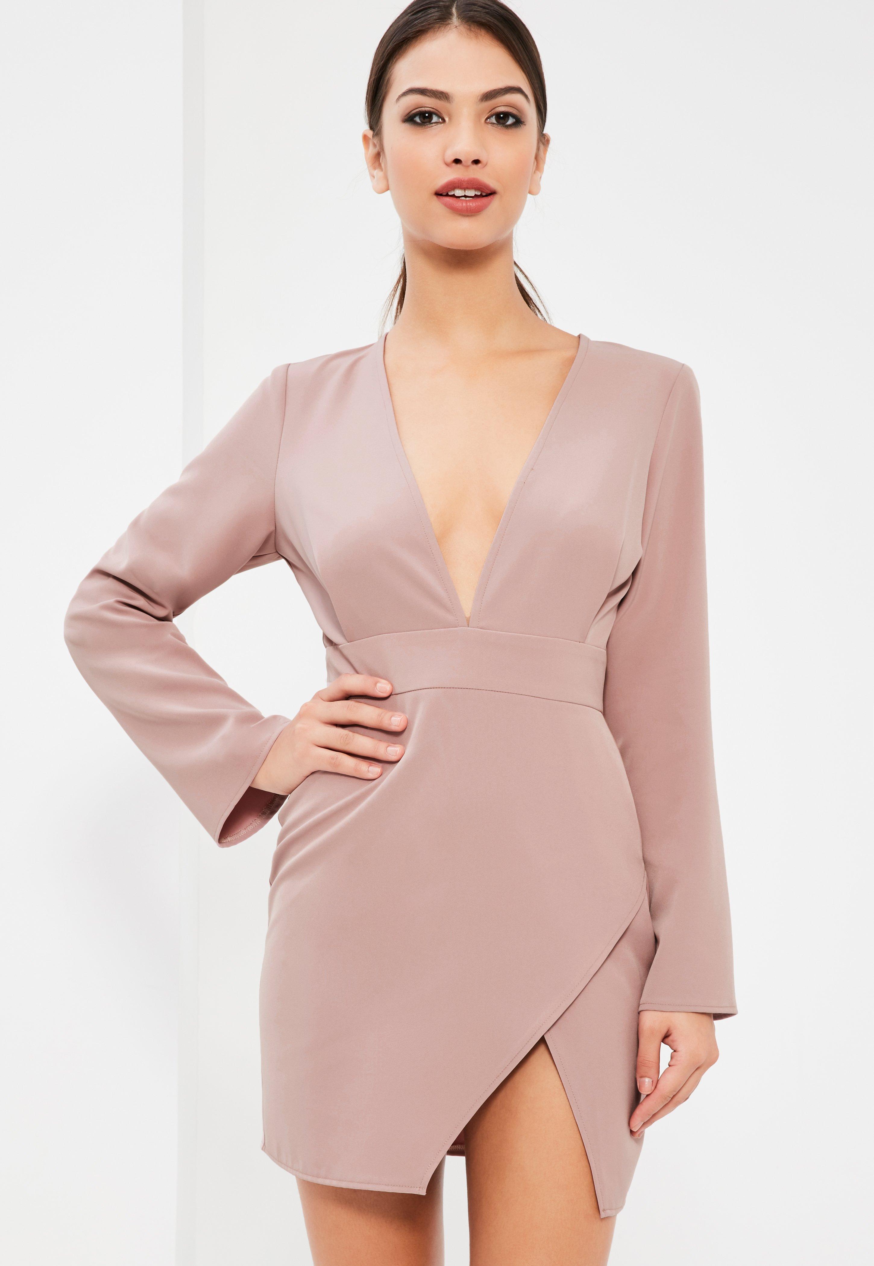Lilac Plunge Neck Asymmetric Bodycon Dress