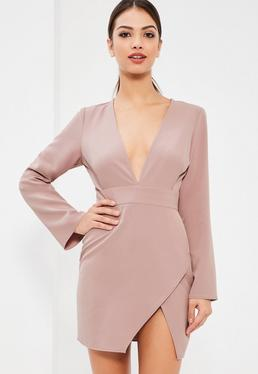 Lilac Plunge Neck Asymmetric Bodycon Dress