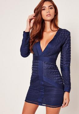 Navy Lace Plunge Bodycon Dress