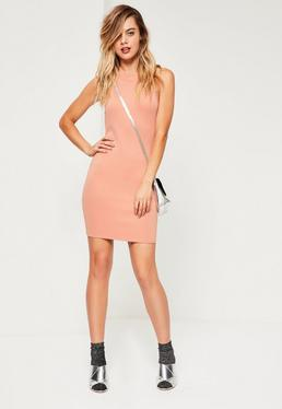 Nude Scuba High Neck Bodycon Dress