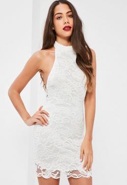 White Lace High Neck Curved Hem Bodycon Dress