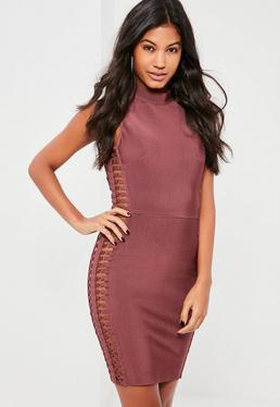 Premium Purple Bandage Ring Side Detail Mini Dress
