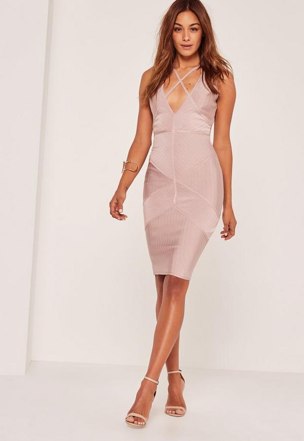 Vestido midi ceñido con detalle tipo arnés premium lila | Missguided