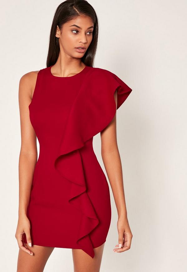 Red Frill Shoulder Mini Dress