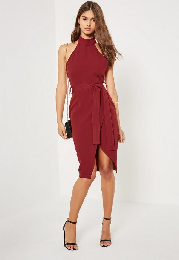 Burgundy High Neck Belted Tailored Midi Dress