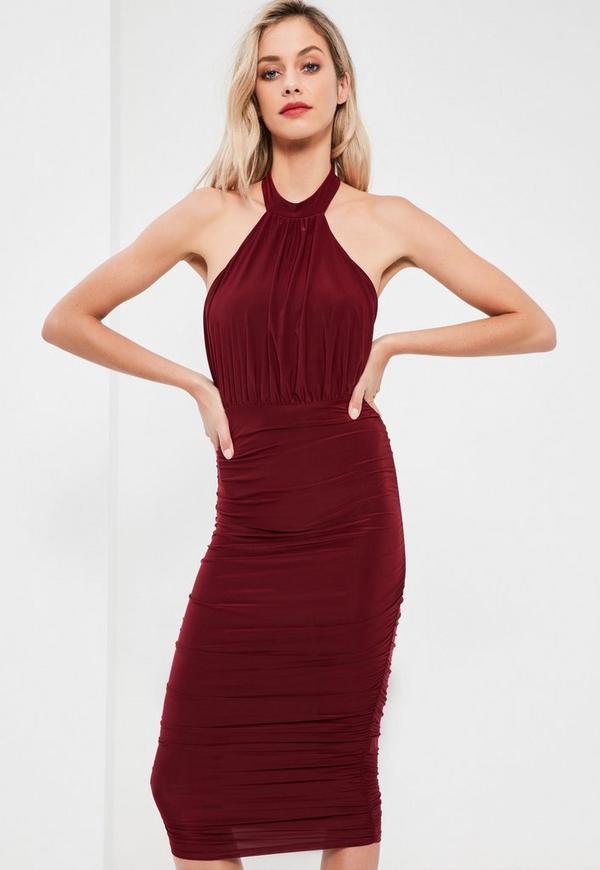 Burgundy Slinky High Neck Ruched Midi Dress