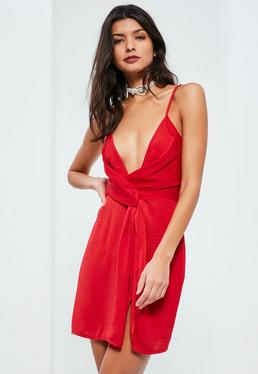 Red Silky Strappy Knot Front Shift Dress