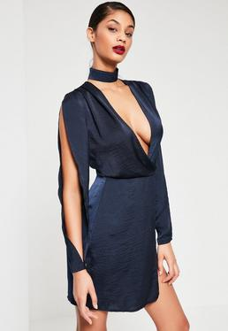 Navy Silky Choker Detail Long Sleeve Shift Dress