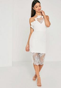 White Crepe Lace Frill Detail Midi Dress