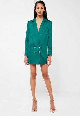 Peace + Love Teal Satin Button Blazer Dress