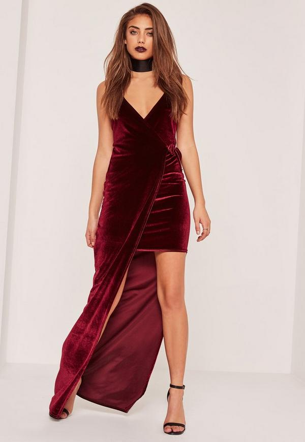 Burgundy Velvet Strappy Side Split Maxi Dress