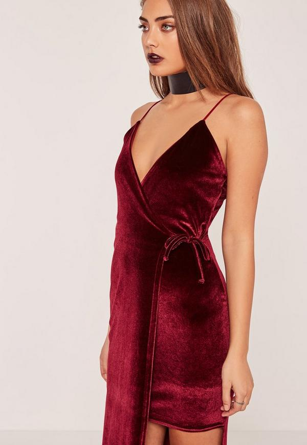 robe longue fendue en velours bordeaux missguided. Black Bedroom Furniture Sets. Home Design Ideas