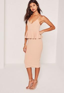 Nude Crepe Strappy Peplum Midi Dress