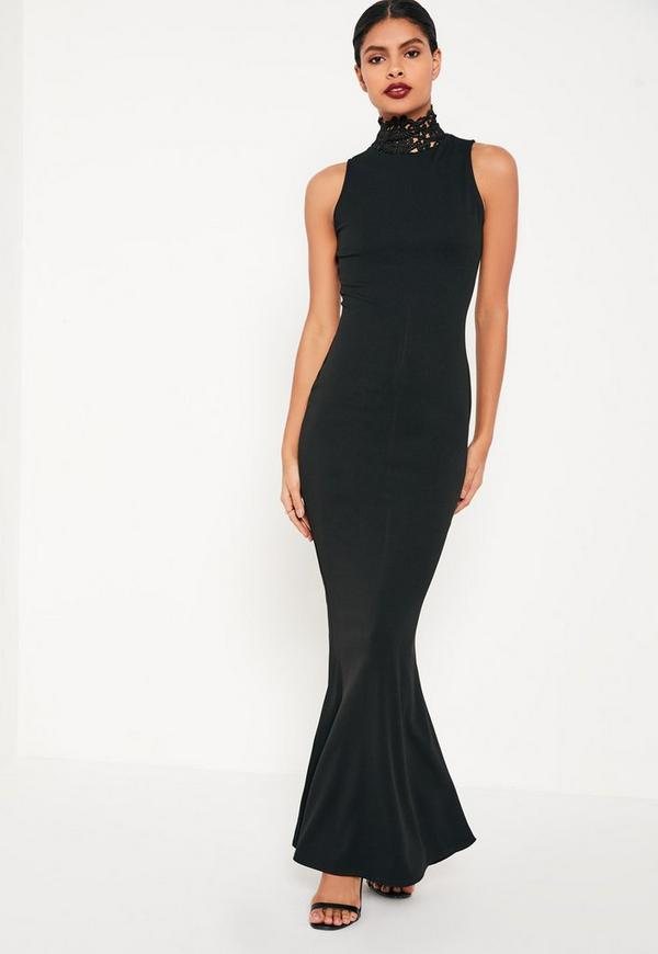 Black Crepe Neck Lace Maxi Dress