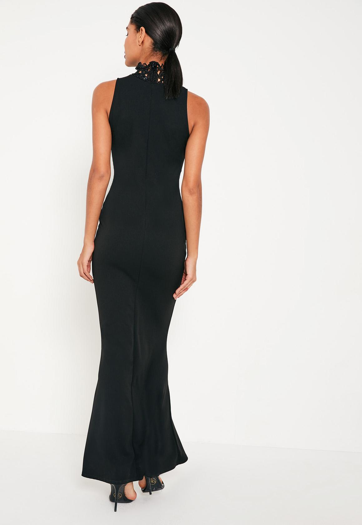 Black Crepe Neck Lace Maxi Dress