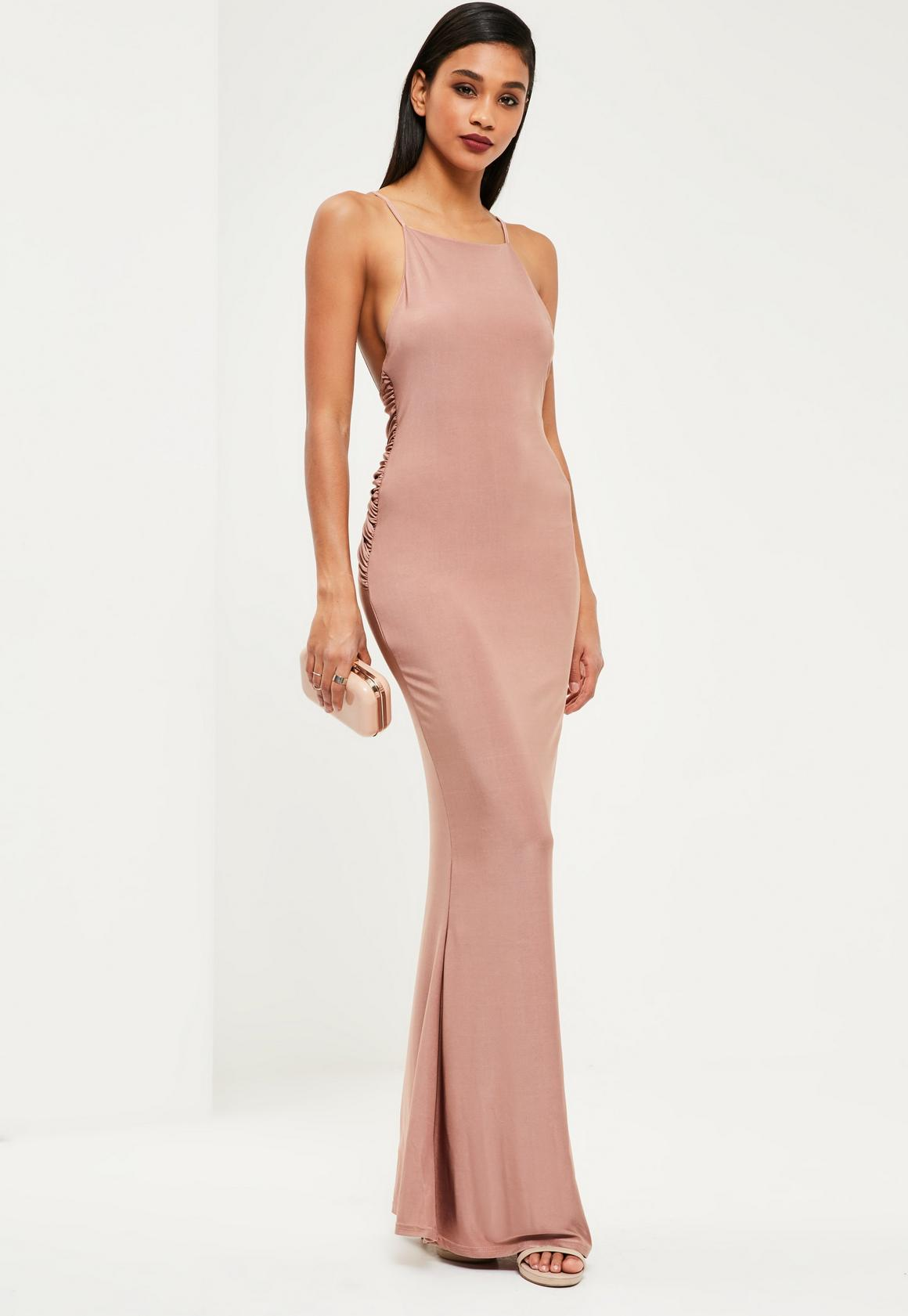 Pink Slinky Ruched Bum Maxi Dress | Missguided